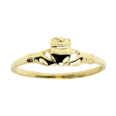 New Ladies 10k or 14k, White or Yellow Gold Irish Celtic Claddagh Ring