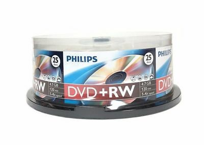 25-pk Philips 4x DVD+RW Rewritable 4.7GB Blank Recordable DVD+R DVD Media Disk