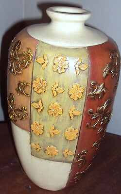 "11"" Antique Look Hand Painted Enameled Gold Color Flower Crafted Beige Vase"