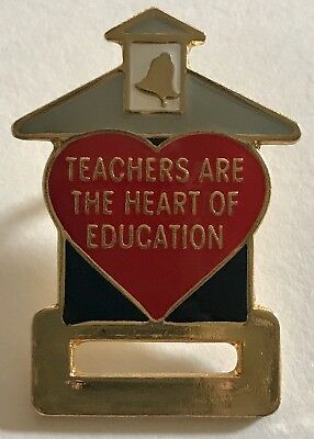 """""""TEACHERS ARE THE HEART OF EDUCATION"""" Badge Holder, Lapel Pins/Lot 25/ALL NEW!"""