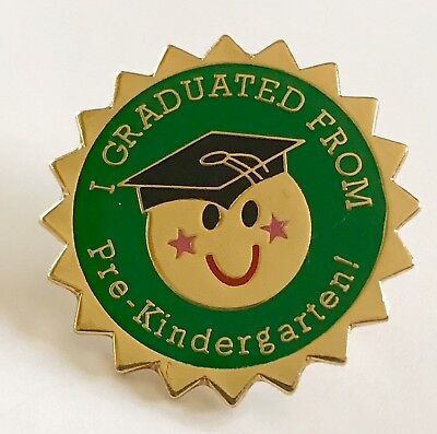 """I GRADUATED FROM Pre-Kindergarten!"" Smiley Face Enamel Lapel Pins/Lot of 19/NEW"