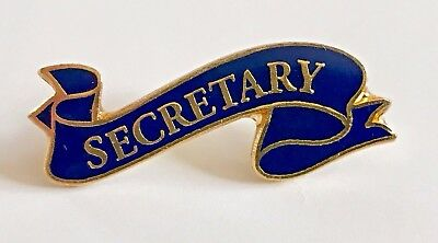 """SECRETARY"" Blue Ribbon Enamel Lapel Pins/Lot of 25/ALL NEW LINE!"