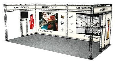 TRADE SHOW BOOTH DISPLAY CUSTOM 10x20 POP UP BANNER STAND INLINE CROSSWIRE