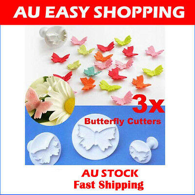 Set of 3 Veined Butterfly Cutters Sugarcraft Cake parties Occasions Decoration