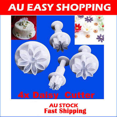 Set of 4 Daisy Marguerite Plunger Cutters Sugarcraft Cake parties Decoration