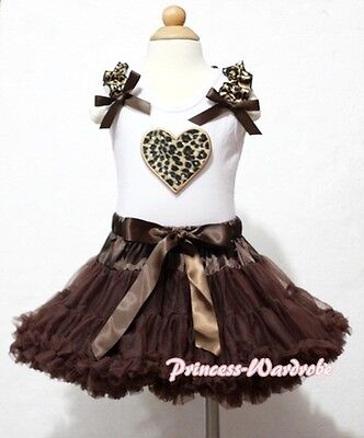 White Pettitop Top in Leopard Ruffles Heart with Dark Brown Pettiskirt Tutu 1-8Y