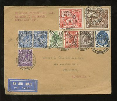 AUSTRALIA 1931 FIRST OFFICIAL AIRMAIL..NORRIS COVER..WEMBLEY + PUC Combination