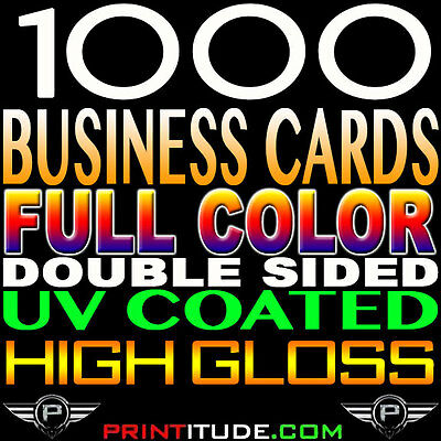 1000 FULL COLOR DOUBLE SIDED GLOSS BUSINESS CARD 14pt THICK Professional Print