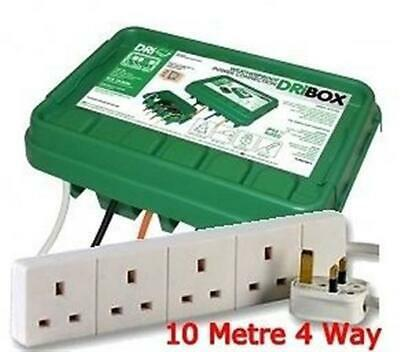 Outdoors Rainproof Electrical Junction box with 10 Metre 4 Way Extension Lead