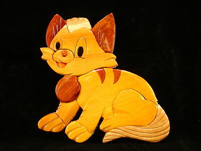 NEW Hand Carved Wood Art Intarsia KITTY CAT Sign Wall Plaque Home Decor
