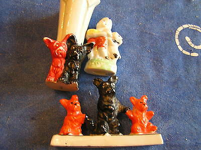 COLLECTION THREE SWEET  SCOTTIE STATUES VINTAGE 40'S JAPAN COLORFUL