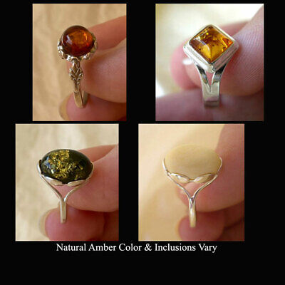 Baltic Honey Amber & Sterling Silver Handmade Ring Various Sizes