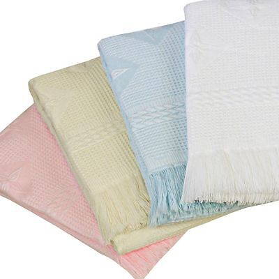 Babyprem Large Baby Shawl Blanket 122 X 122Cm White Cream Pink Blue Star Design