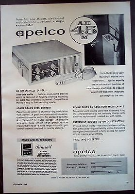 1965 Apelco AE-45M Radiotelephone for boaters vintage ad