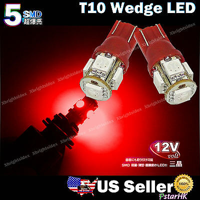 2pcs T10 Wedge 5-SMD 5050 LED Light bulbs Brilliant Red 192 168 194 W5W 2825