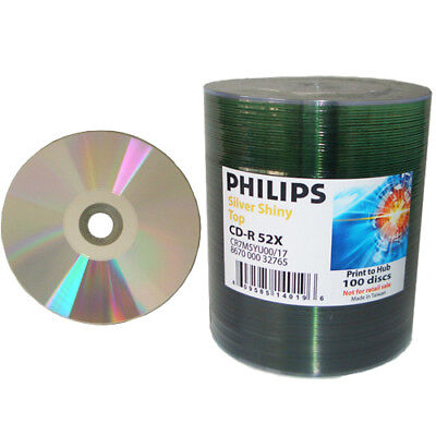 100-pk Philips 52x CD-R Silver Shiny Thermal Printable Blank Recordable CD Media