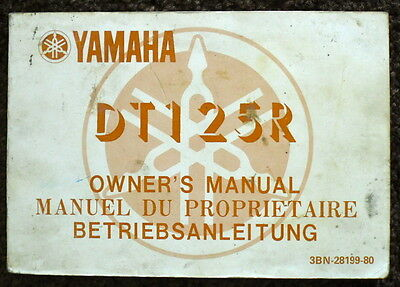 Yamaha 1987 Dt125R Motorcycle Owner's Manual #3Bn-28199-80