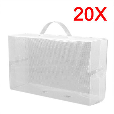 20 x Ladies Clear Plastic Shoe Storage Box Stackable Foldable Boxes Trainers New