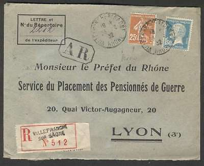 France Internal Register Cover 1932 w 2 Stamps Perfin AR Cachet