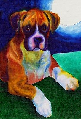 13x19 BOXER MOON Big Signed Dog Art PRINT of Original Oil Painting by VERN