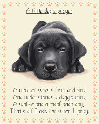 BLACK LABRADOR puppy dog - complete counted cross stitch kit