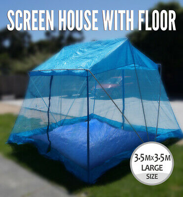 Screen House 3.6x3.6x2.2 m without Floor, Outdoor Picnic Marquee, Tent , BLue