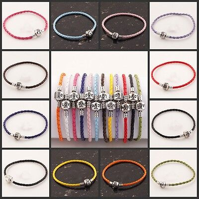 5/10/20/50X Lots Colorful Love Clasp Leather Bracelets Fit European Beads Charms