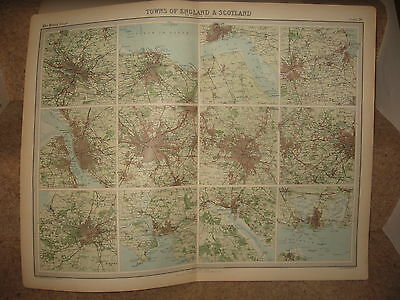 Times Atlas Map TOWNS OF ENGLAND & SCOTLAND Bartholomew 1920 Plate 26