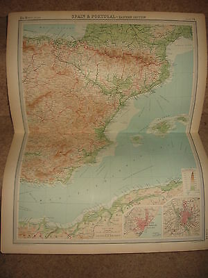 Times Atlas Map SPAIN & PORTUGAL EASTERN SECTION Bartholomew 1920 Plate 34