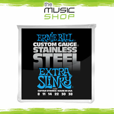 5 x Ernie Ball 2249 Extra Slinky Stainless Steel Electric Guitar Strings 8-38