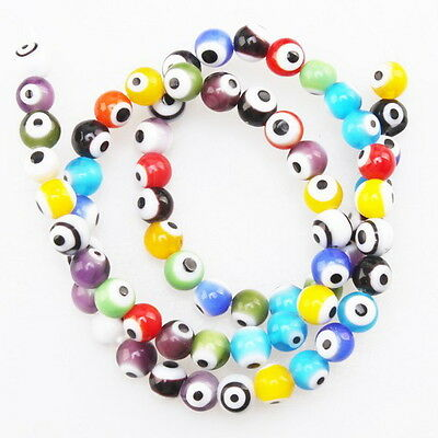1String 110643 Assorted Round Evil Eye Glass Bead Fit Jewelry Making 6mm