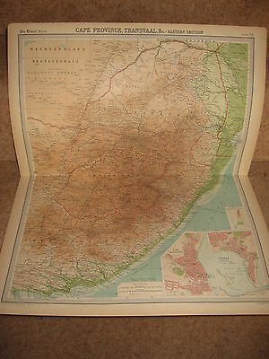 Times Atlas Map CAPE PROVINCE TRANSVAAL EASTERN SECTIONBartholomew 1920 Plate 73