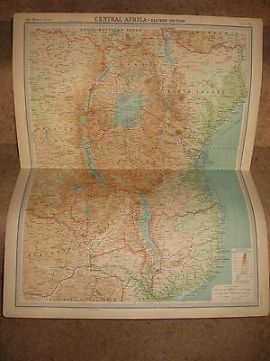 Times Atlas Map CENTRAL AFRICA EASTERN SECTION Bartholomew 1920 Plate 75