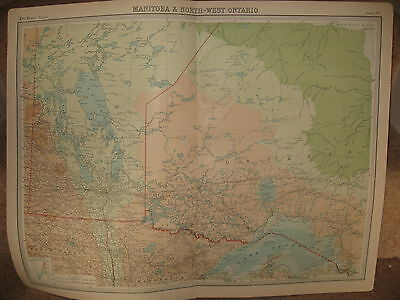 Times Atlas Map MANITOBA & NORTH-WEST ONTARIO CANADA Bartholomew 1920 Plate 87