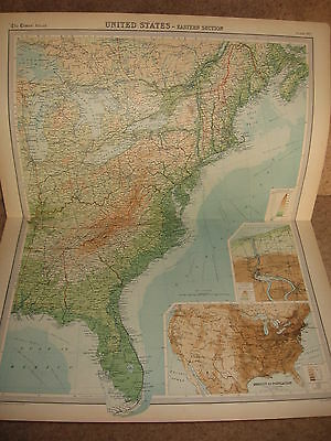 Times Atlas Map UNITED STATES EASTERN SECTION Bartholomew 1920 Plate 90