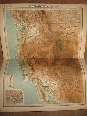 Times Atlas Map UNITED STATES WESTERN SECTION Bartholomew 1920 Plate 92