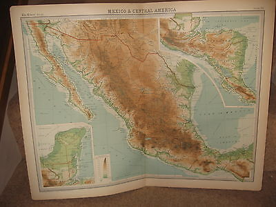 Times Atlas Map MEXICO AND CENTRAL AMERICA  Bartholomew 1920 Plate 95