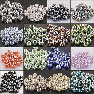 20/50/100 Wholesale Faceted AB Crystal Glass European Beads Jewelry Fit Chain