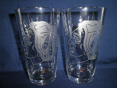 Chicago Blackhawks Drinking Glasses 16oz.Hand Etched
