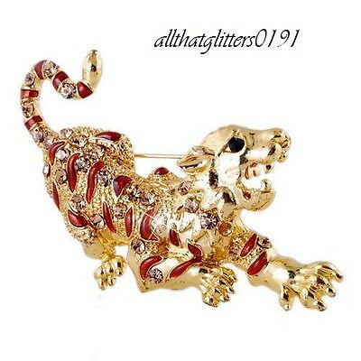 Stunning Tiger Brooch Encrusted With Crystals