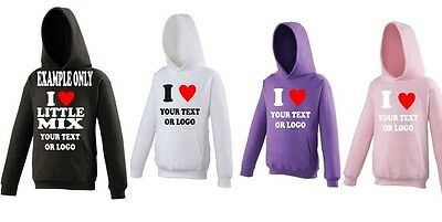 I Love Little Mix AWDis Hoodies 4 colours with Red Sparkle Heart