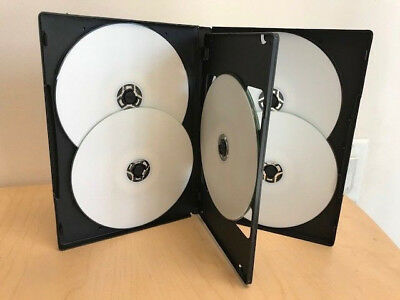 10-pk Generic Black Standard 14mm Sextuple 6-in-1 DVD CD Disc Storage Case Box