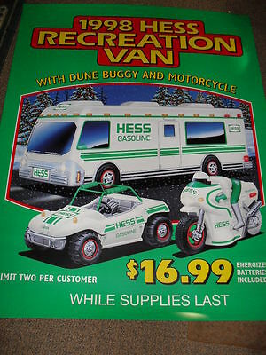 "58"" x 46""  HESS TRUCK 1998 RECREATION VAN Dune Buggy Motorcycle Plastic Ad Sign"