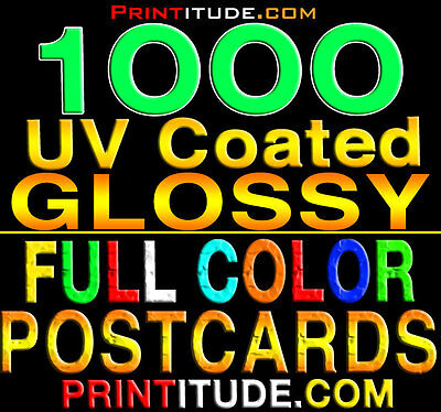 "1000 POSTCARDS 2"" x 4"" FULL COLOR - GLOSSY - 2 SIDED - 2X4 POSTCARDS FREE Design"