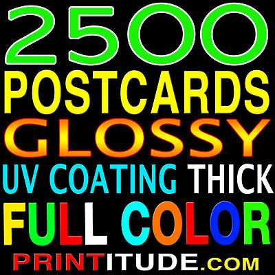"2500 POSTCARDS 4"" x 9"" FULL COLOR, GLOSSY, 2 SIDED - 4x9 + FREE Design"