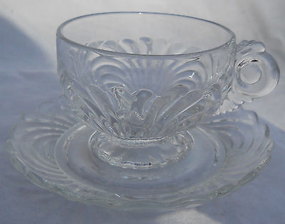 Cambridge Caprice Coffee Cup Saucer Set S Clear Crystal Glass # 300