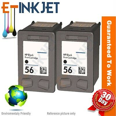 2 Pk HP 56 Black Ink Cartridge (C6656A C6656AN) 20 ml Made In USA 100% guaranty