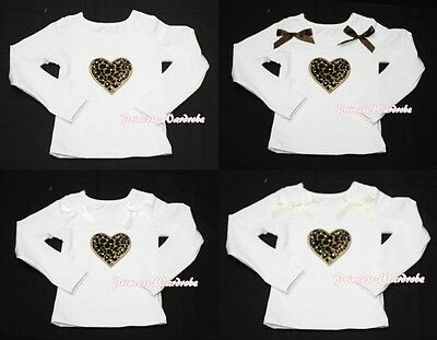 Valentine Leopard Heart Print White Long Sleeve Pettitop Top For Pettiskirt 1-8Y