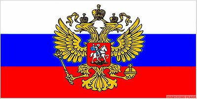 RUSSIA WITH CREST 5 FEET X 3 FLAG Russian Moscow socialist communist flags