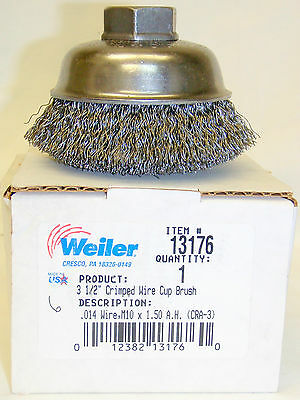 """Weiler 13176 3-1/2"""" Crimped Wire Cup Brush M10X1.50thd.. .014 Wire"""